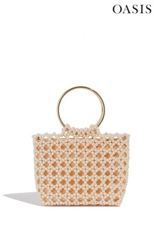 Oasis White Beaded Tote Bag