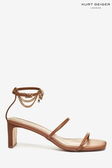 Kurt Geiger London Natural Blake Leather Heeled Sandals