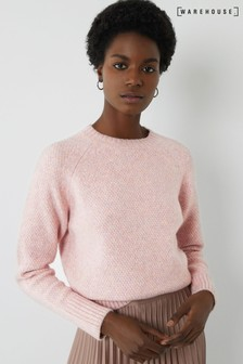 Warehouse Pink Cosy Basket Stitch Jumper