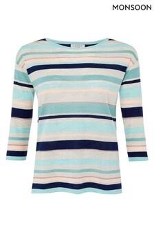 Monsoon Blue Stripe Linen Blend Jumper