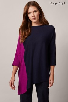 Phase Eight Purple Ana Asymmetric Colourblock Knitted Jumper