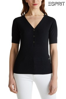 Esprit Black Henley Sweater
