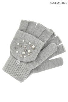 Accessorize Grey Pearl Sparkle Capped Gloves