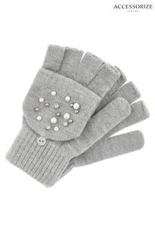 Accessorize灰色珍珠閃亮翻蓋手套