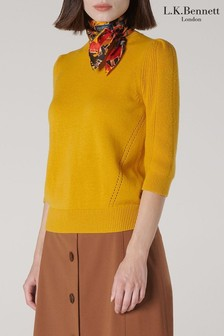 L.K. Bennett Yellow Alexia Short Sleeeve Ribbed Top