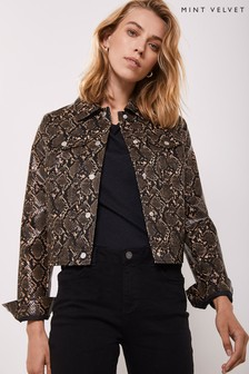 Mint Velvet Animal Snake PU Western Crop Jacket