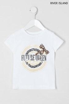 River Island White Future Queen Leo Bow T-Shirt