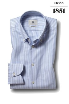 Moss 1851 Tailored Fit Sky Single Cuff Button Stripe Shirt