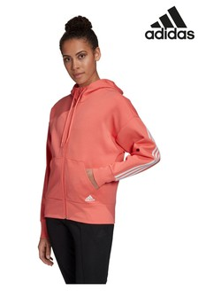 adidas Red 3 Stripe Zip Through Hoody