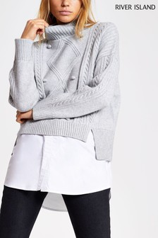 River Island Grey Jenny Cable Hybrid Jumper
