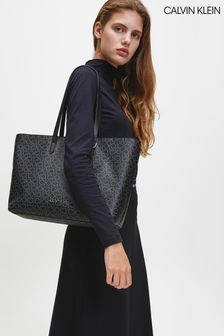 Calvin Klein Black Mono Shopper Tote Bag