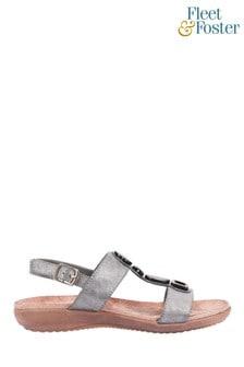 Fleet & Foster Grey Rosa Buckle Sandals