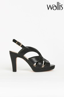 Wallis Salsa Black Multi Strap Platform Sandals