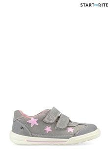 נעליים של Start-Rite דגם Galaxy Nubuck Pink Stars באפור