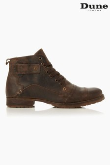 Dune London Simon Dark Brown Heavy Duty Leather Ankle Boots