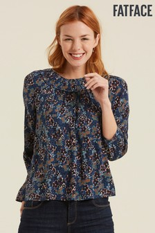 FatFace Blue Ellia Ink Floral Blouse