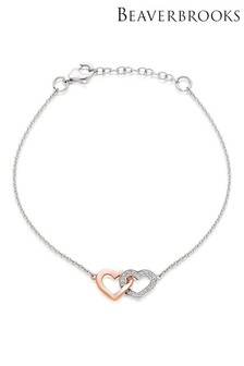 Beaverbrooks Silver And Rose Gold Plated Cubic Zirconia Heart Bracelet