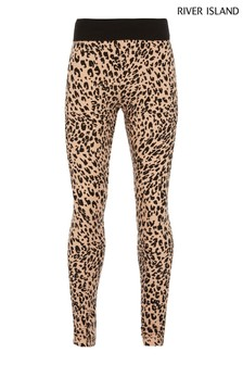 River Island Ecru Leopard Leggings
