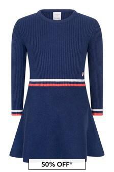 Girls Navy Knitted Dress