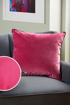 Fuchsia/Grey Mila Twin Velvet Square Cushion