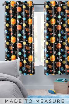 Space Planets Black Made To Measure Curtains