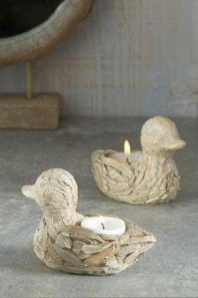 Set of 2 Driftwood Effect Duck Tealight Holders