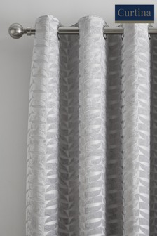 Curtina Kendal Velvet Geo Lined Eyelet Curtains