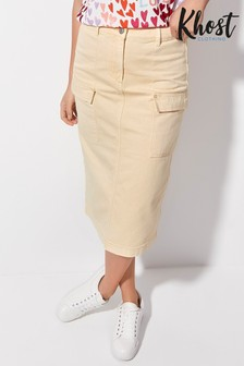 Khost Yellow Lemon Cargo Midi Skirt