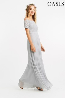 Oasis Grey Lace Bardot Maxi Dress