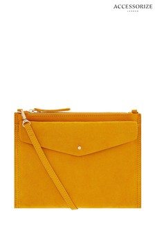 Accessorize Yellow Iris Leather Cross Body Bag