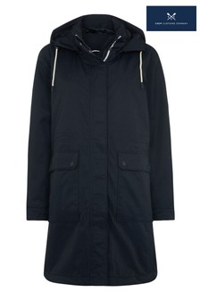 Crew Clothing Company Blue Waterproof Coat With Quilted Lining