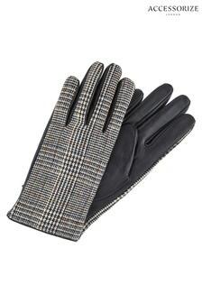 Accessorize黑色Karli粗呢和皮革手套