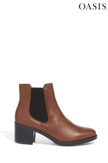 Oasis Brown Esme Leather Ankle Boots