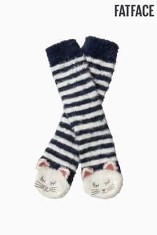 FatFace Blue Fluffy Cat Socks