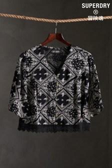 Superdry Black Lace Top