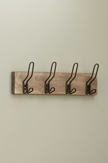 Set of 4 Wood And Metal Hooks