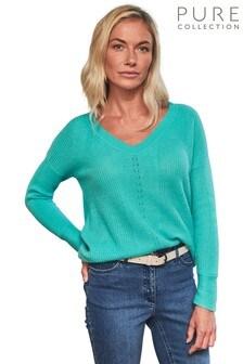 Pure Collection Blue Gassato Cashmere Textured V-Neck Sweater