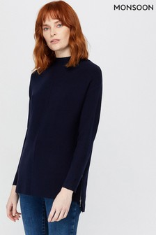 Monsoon Blue Yasmin Sustainable Viscose Jumper