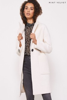 Mint Velvet Cream Bouclé Boyfriend Coat
