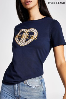 River Island Navy Print Embroided Toujour T-Shirt