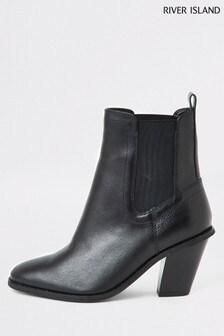 River Island Black Harry High Heel Western Boots