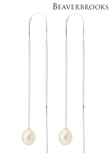 Beaverbrooks Silver Freshwater Pearl Double Drop Earrings