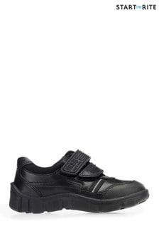 Start-Rite Luke Black Leather Primary Boys School Velcro Shoes