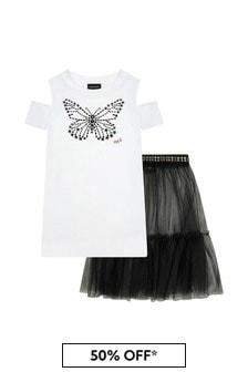 Monnalisa Girls White Cotton Top And Skirt Set