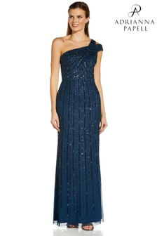Adrianna Papell Blue Beaded Gown With Mermaid Skirt