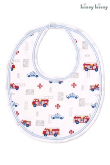 Kissy Kissy White Rescue Team Fire Engine Bib