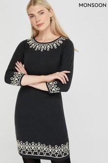 Monsoon Black Tiana Cornelli Dress