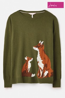 Joules Green Miranda Knitted Intarsia Crew Neck Jumper