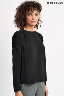 Whistles Black Nelly Long Sleeved Shell Top