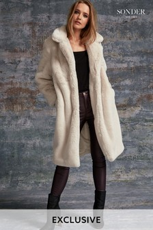Sonder Cream Plush Faux Fur Midi Coat